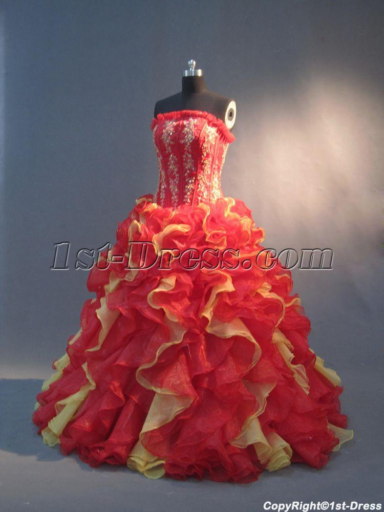 Red And Yellow Unique 15 Quinceanera Gowns Img 2952 1st