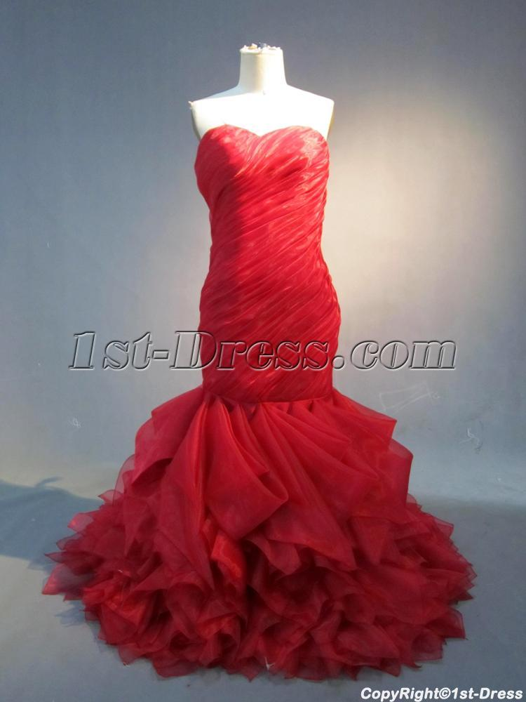 Romantic Red Mermaid Organza Wedding Dress