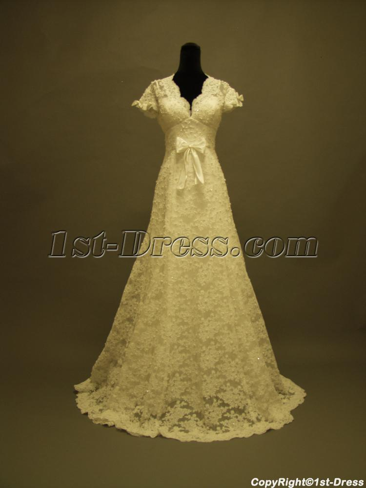 Short lace wedding dress with sleeves vintage inspired 1st for Short wedding dress with lace