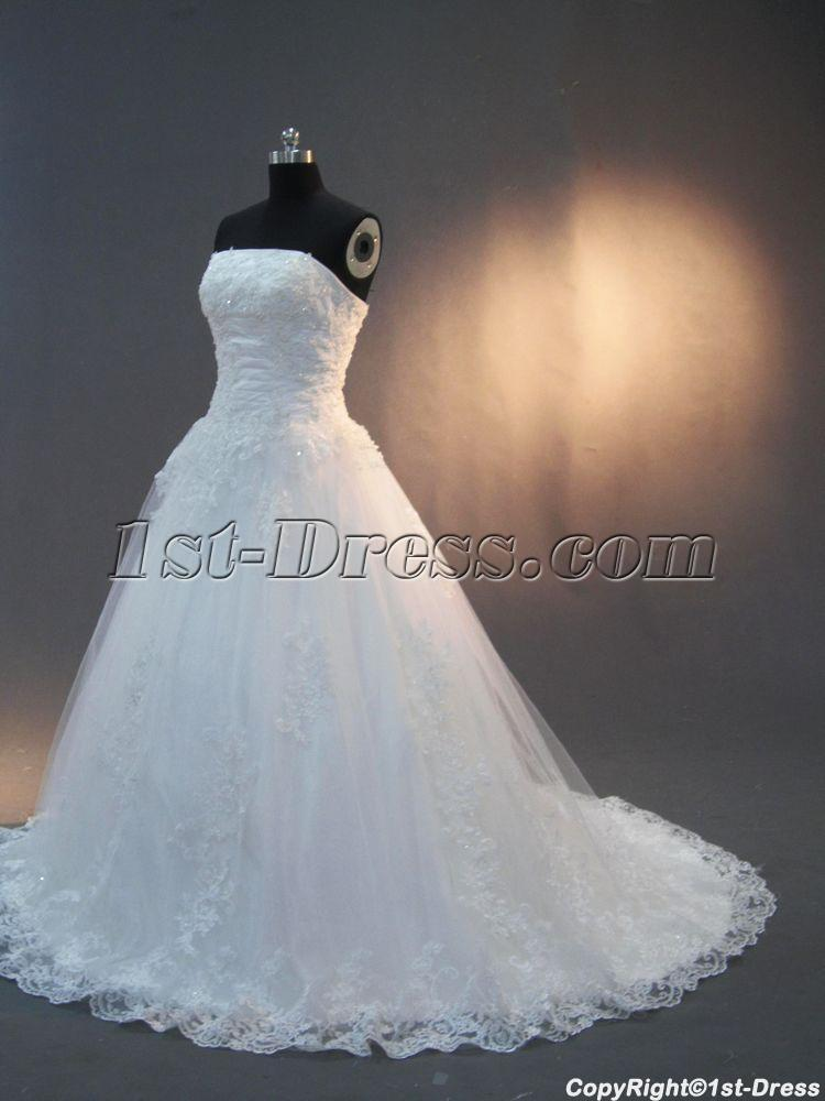 elegant strapless wedding dresses with lace