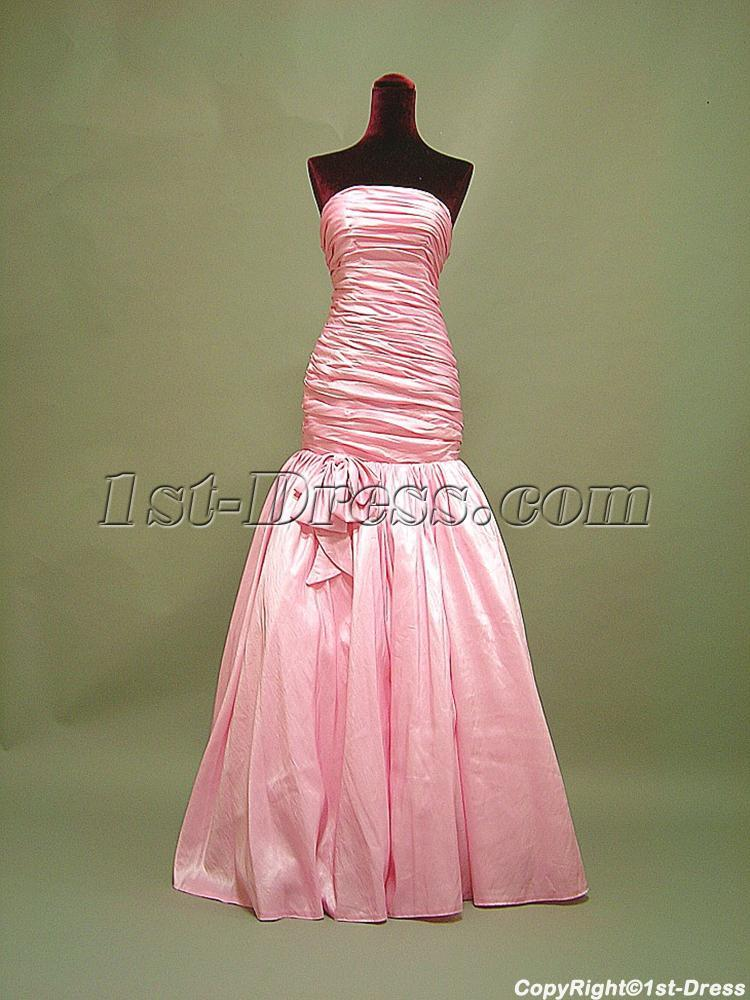Strapless Rose Pink Mermaid Graduation Dress 3054 1st