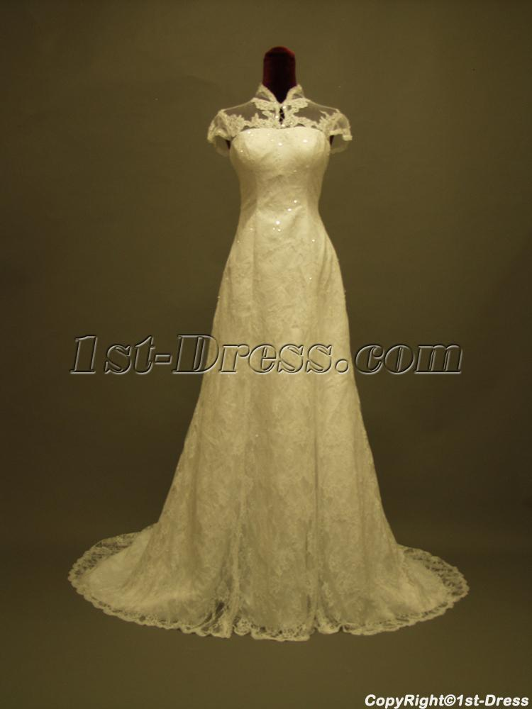 Unique Lace High Neck Wedding Dress With Cap Sleeves 3651st Dress