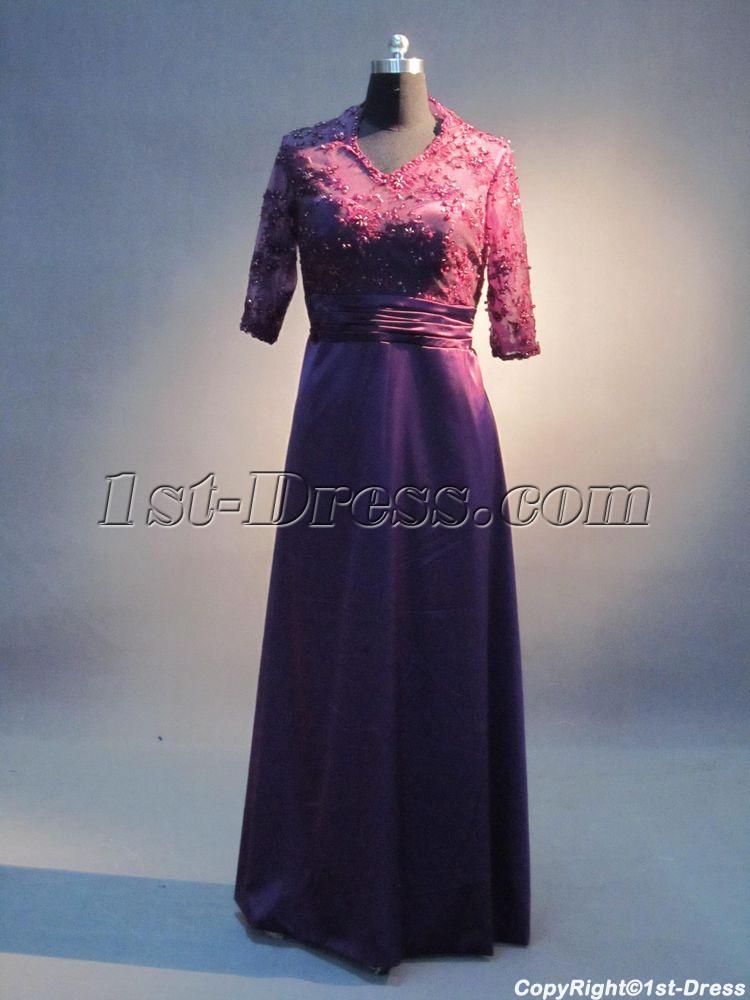 V-neckline Purple Lace Plus Size Formal Mother of Bride Dress ...