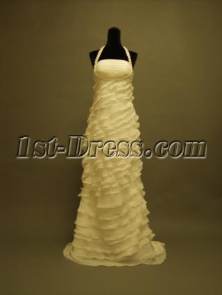 2013 Halter Column Tiered Celebrity Wedding Dresses P8310654