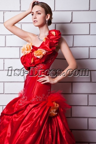 2013 Red One Shoulder Wedding Dresses with Floral IMG_0745