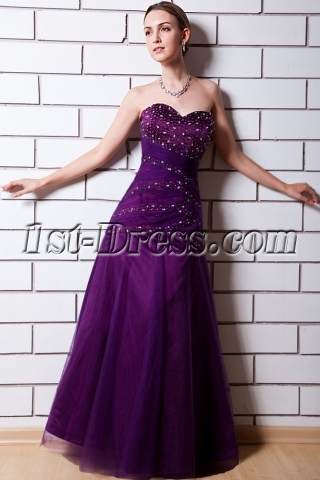 2013 Wonderful Purple Sweetheart Evening Dress with Corset IMG_0623