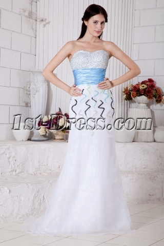 Beaded Column Fashion Colorful Evening Dress with Waistband IMG_7643