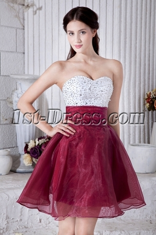 Beaded Cute White and Burgundy Sweet 15 Dress IMG_6949