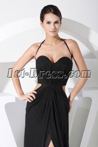 Black Sexy Celebrity Dress with Keyhole WD1-062