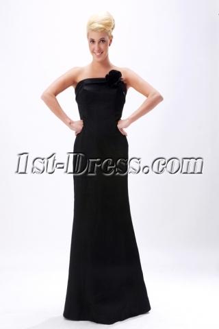 Black Simple Sheath Floor Length Evening Dress 2012 SOV111011
