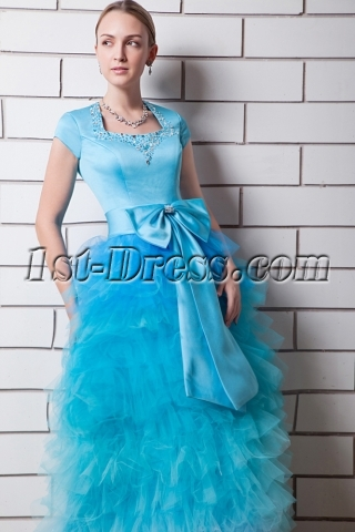 Blue Multi Colored Quinceanera Dresses with Short Sleeves IMG_0569