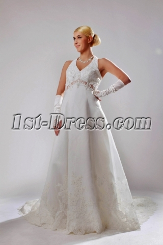 Brilliant Satin Halter Maternity maternity Wedding Dress with Sash SOV11002