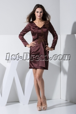 Brown Long Sleeves Mother of Bride Dresses Petite Short WD1-014