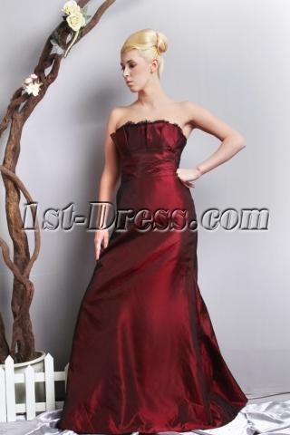 Burgundy Strapless Elegant Plus Size Prom Dress SOV111018