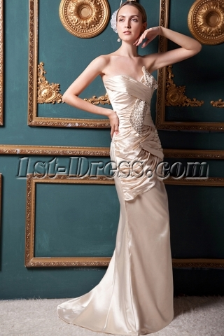 Champagne Cheap Sheath Evening Dresses IMG_1554