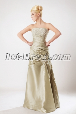 Champagne Military Ball Gown Prom Dress with Strapless SOV111004