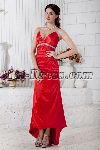 Cheap Beautiful Red Strapless High-low Hem Cocktail Dress IMG_6846