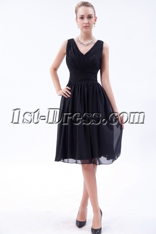 Cheap Classic Black Short Bridesmaid Dresses IMG_9544
