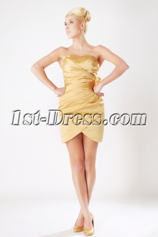 Cheap Gold Mini Length Homecoming Dress 2013 Spring Sov113003