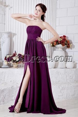 Chiffon Grape Purple Military Ball Gown with Side Split IMG_7005