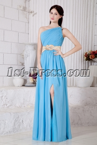 Chiffon Spring Long Blue Front Split 2013 Evening Dress IMG_7315