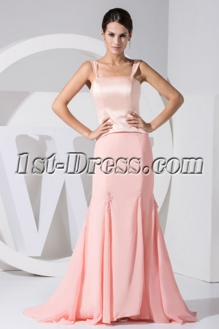 Coral 2 Pieces Graduation Dress with Train WD1-033
