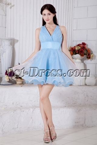 Criss-cross Back Puffy Sweet 16 Dress Sky Blue IMG_7372
