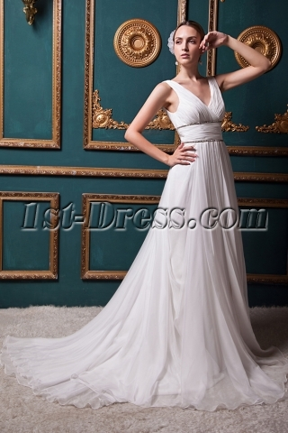Discount Romantic V-neckline Beach Bridal Gown IMG_1338