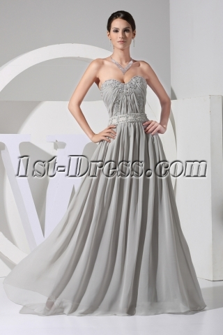Elegant Gray Plus Size Chiffon Evening Gown WD1-057