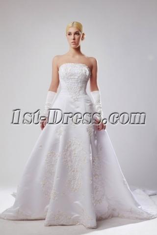 Elegant Strapless Satin Plus Size Bridal Gown with Train SOV11020