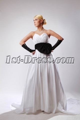 Elegant Sweetheart Ivory Bridal Gown with Black Waistband SOV110025