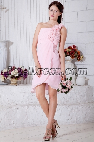 Flower One Shoulder Chiffon Pink Short Junior Prom Dress IMG_7037