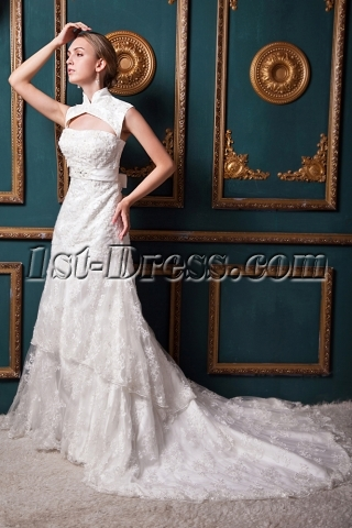 Generous Detachable High Neckline Jacket Luxurious Lace Wedding Dress IMG_1358