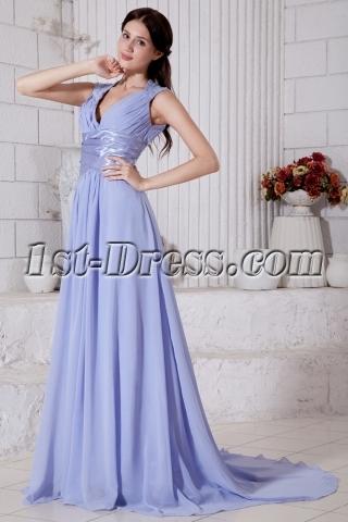 Generous Lavender Deep V-neckline 2012 Evening Dress with Keyhole IMG_7631