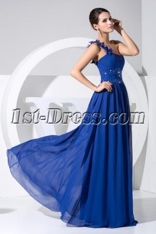 Gentle Royal Blue One Shoulder Military Evening Dress WD1-025