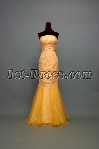 Glamorous Orange Sheath Lace Pretty Quince Gown Dress IMG_7228
