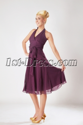 Grape Halter Chiffon Knee Length Junior Bridesmaid Dresses SOV112004