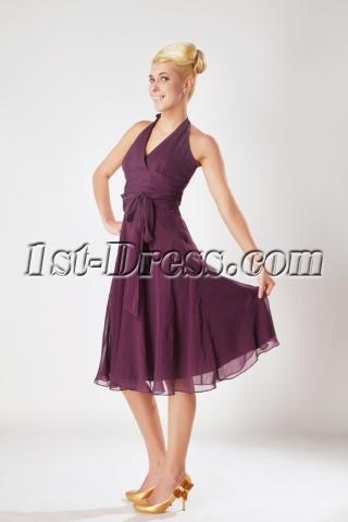 Grape Halter Chiffon Knee Length Junior Bridesmaid Dresses SOV112004