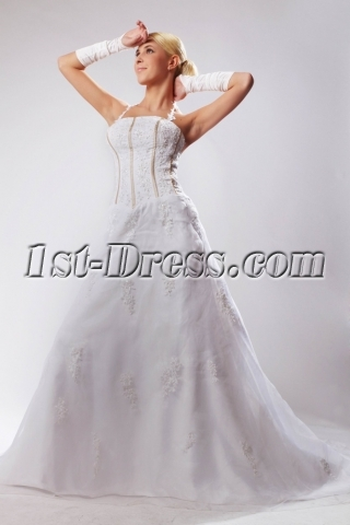 Halter Beautiful Bridal Gown with Buttons with Train SOV110033