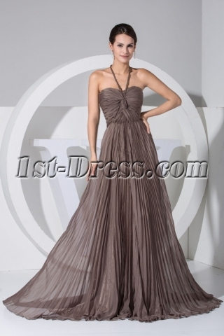 Halter Brown Maternity Evening Dresses Formal Gowns Plus Size WD1-044