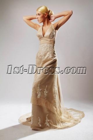 Halter Champagne Backless Elegant Bridal Gowns SOV110039