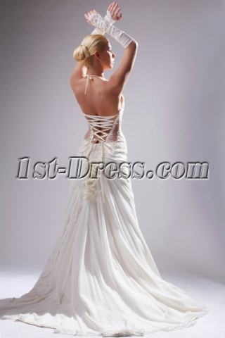 Halter Sexy Illusion Beach Bridal Gown in Summer SOV110010