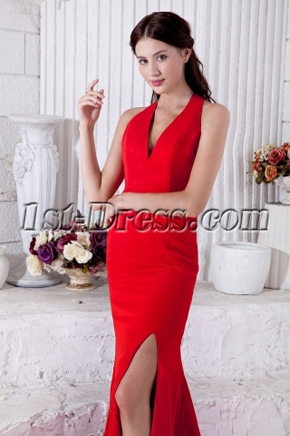Halter V-Neckline Formal Red Evening Dresses IMG_6904
