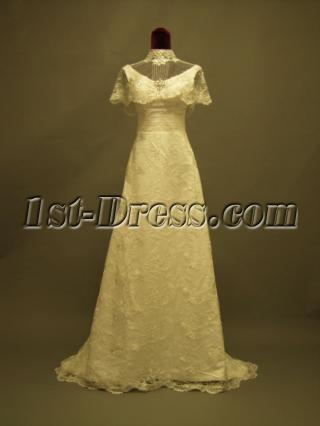 High Neckline Western Lace Bridal Gowns P8310616