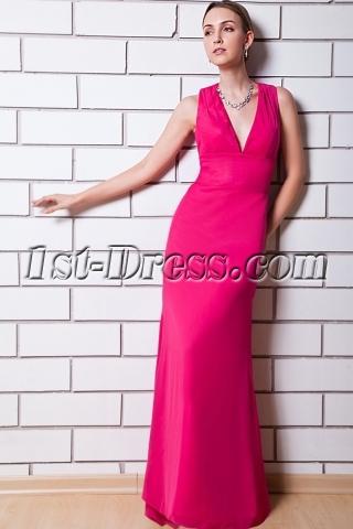 Hot Pink Deep V Column Bridesmaid Dress with Keyhole IMG_0821