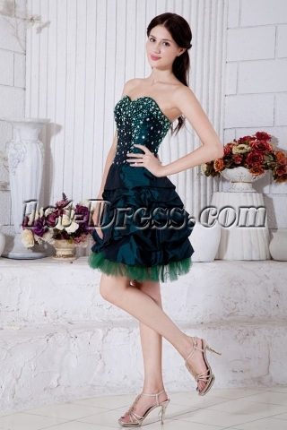 Hunter Green Short 15 Quinceanera Dress with Corset IMG_7349