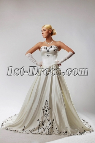 Ivory Plus Size Wedding Dresses with Color Black SOV110027