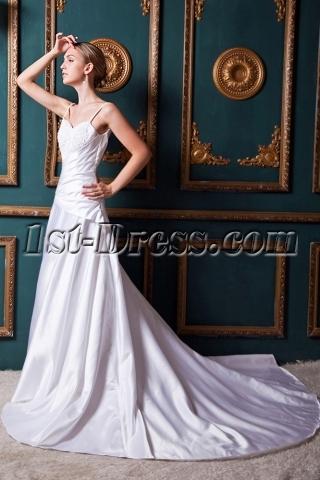 Ivory Satin Spaghetti Straps Outdoor Wedding Dresses IMG_1411