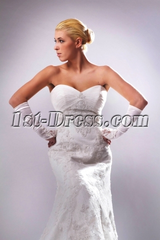 Ivory Sweetheart Luxurious Lace Sheath Bridal Gown with Chapel Train SOV110008