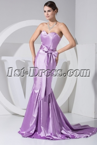 Lilac Clearance Trumpet Prom Dress with Sash WD1-051